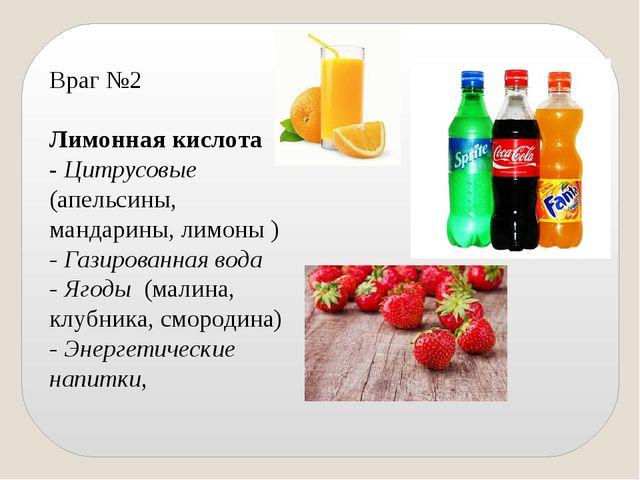 Враг №2 Лимонная кислота - Цитрусовые (апельсины, мандарины, лимоны ) - Газир...