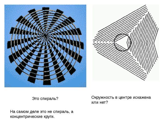 На самом деле это не спираль, а концентрические круги. Окружность в центре ис...