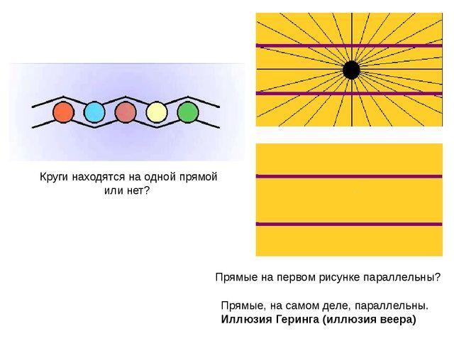 Круги находятся на одной прямой или нет? Прямые, на самом деле, параллельны....