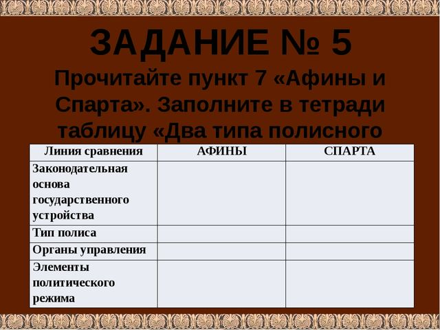 ЗАДАНИЕ № 5 Прочитайте пункт 7 «Афины и Спарта». Заполните в тетради таблицу...