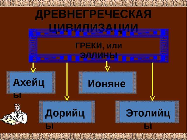 ДРЕВНЕГРЕЧЕСКАЯ ЦИВИЛИЗАЦИИ ГРЕКИ, или ЭЛЛИНЫ Ахейцы Дорийцы Ионяне Этолийцы