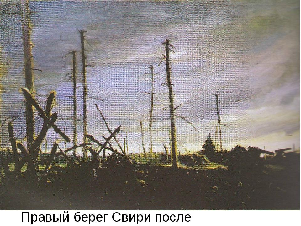 Правый берег Свири после артобстрела