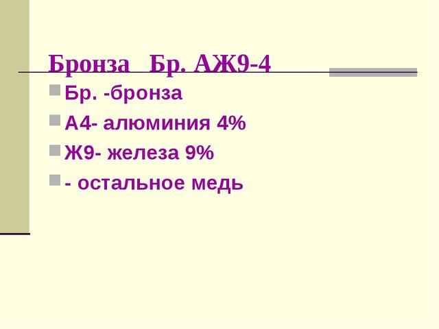 Бронза Бр. АЖ9-4 Бр. -бронза А4- алюминия 4% Ж9- железа 9% - остальное медь