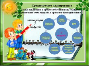 Среднесрочное планирование интеграция 7 модулей Цель: вовлечение в процесс о