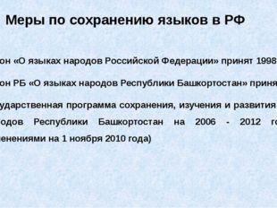 Закон «О языках народов Российской Федерации» принят 1998г. Закон РБ «О языка