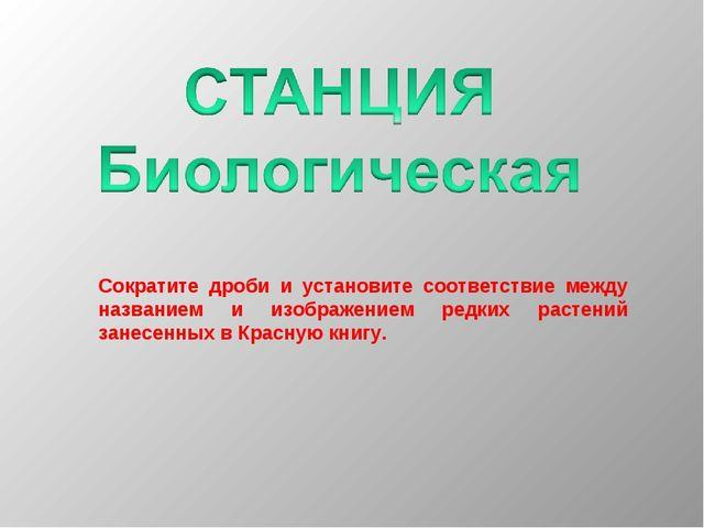 Сократите дроби и установите соответствие между названием и изображением редк...