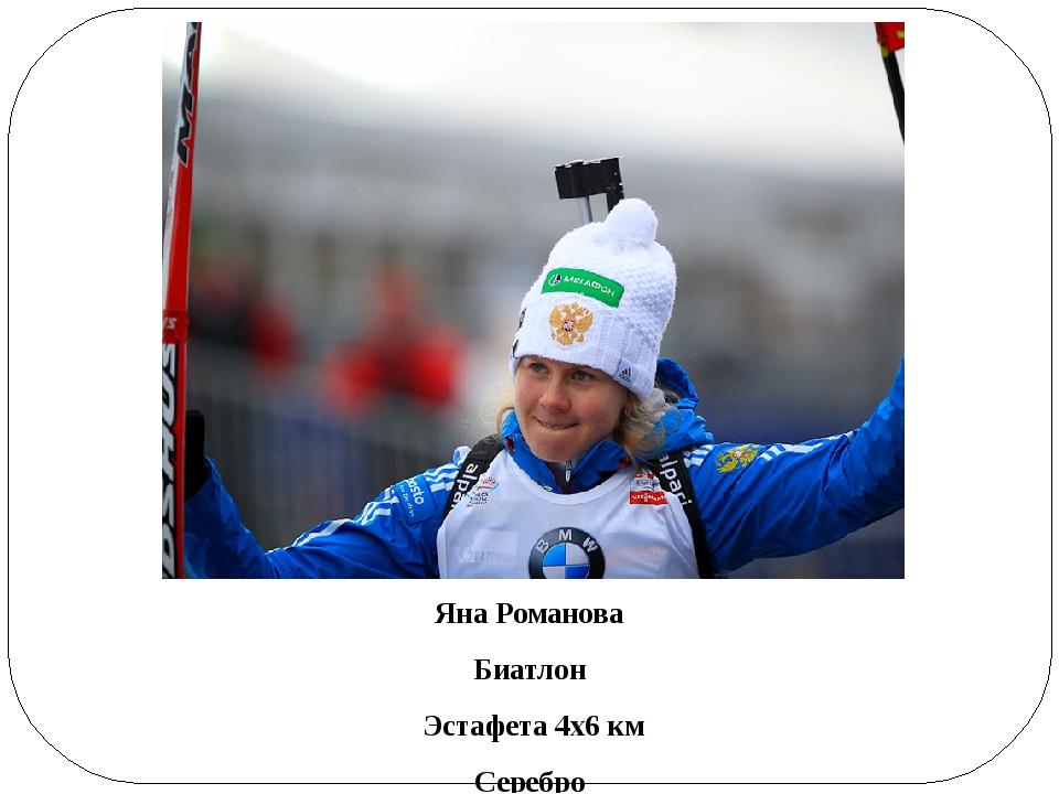 Яна Романова Биатлон Эстафета 4х6 км Серебро
