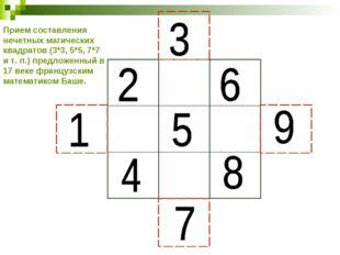 Прием составления нечетных магических квадратов (3*3, 5*5, 7*7 и т. п.) предл