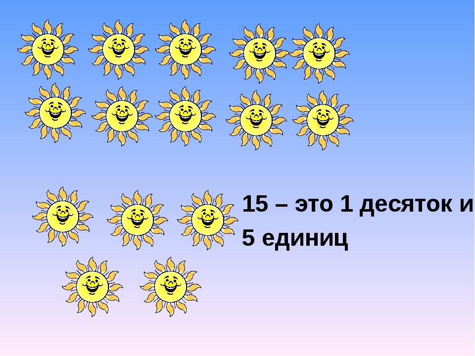 15 – это 1 десяток и 5 единиц