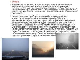 Туман. Видимость на дороге играет важную роль в безопасности дорожного движен
