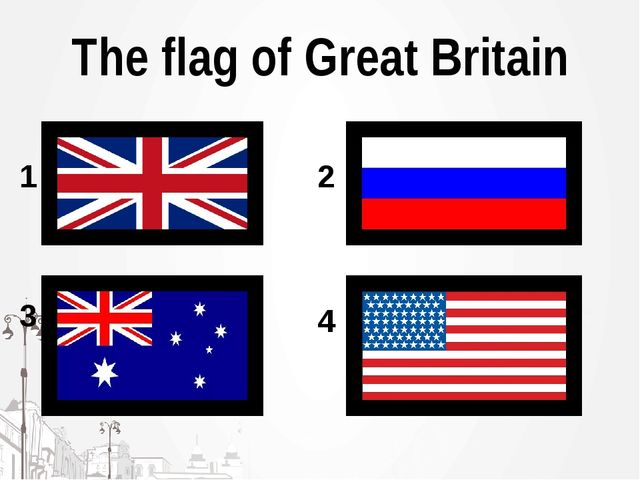 The flag of Great Britain 1 2 3 4