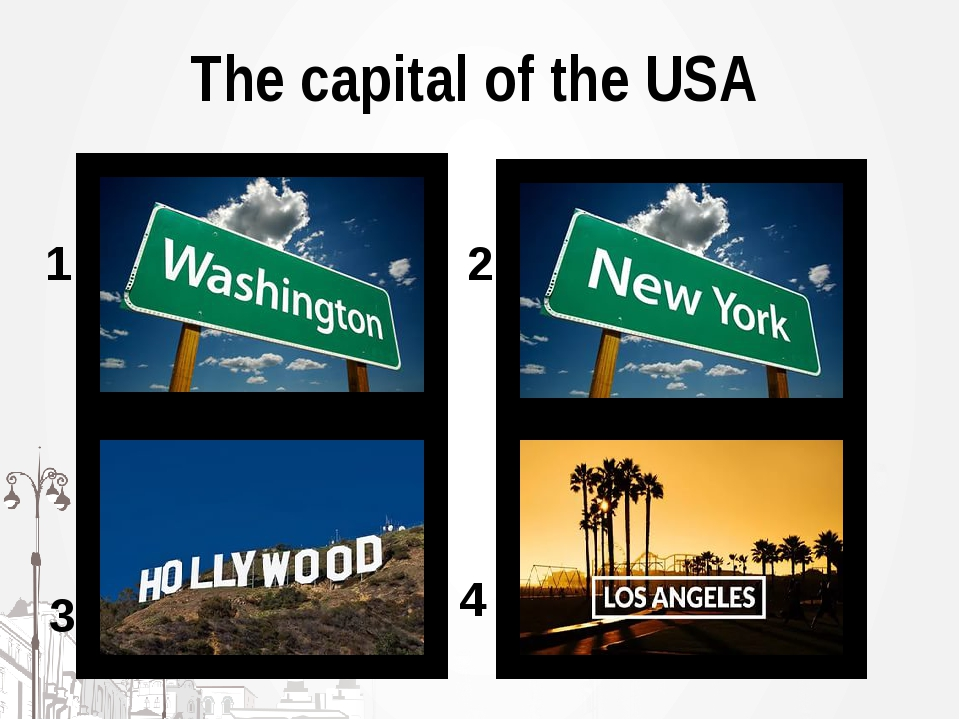 The capital of the USA 1 2 3 4