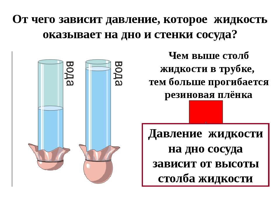 От чего зависит давление, которое жидкость оказывает на дно и стенки сосуда?...
