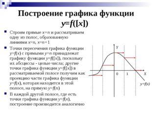 Построение графика функции y=f([x]) Строим прямые x=n и рассматриваем одну из