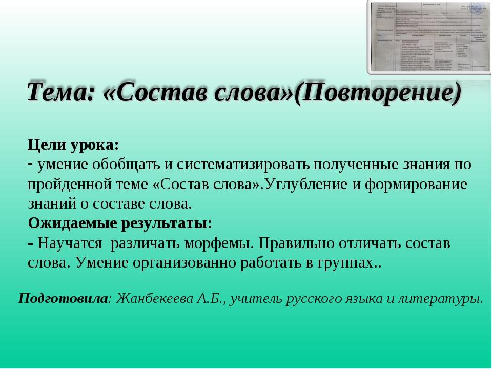 Подготовила: Жанбекеева А.Б., учитель русского языка и литературы. Цели урока...