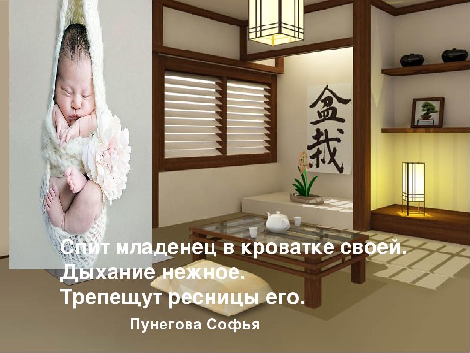 Спит младенец в кроватке своей. Дыхание нежное. Трепещут ресницы его. Пунегов...