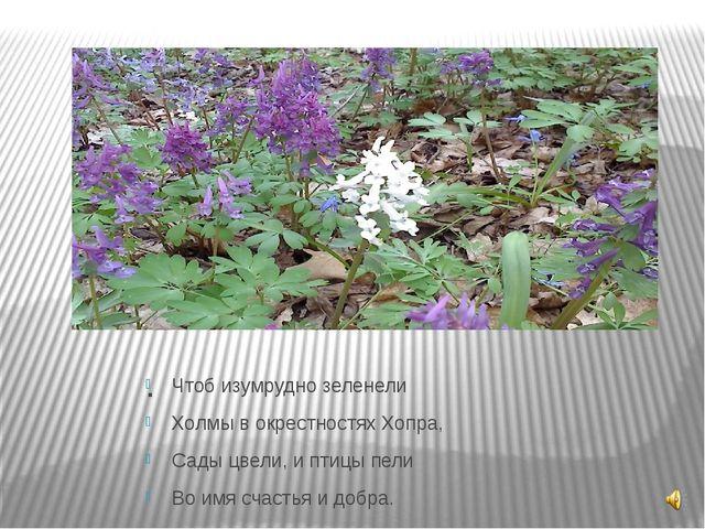 . Чтоб изумрудно зеленели Холмы в окрестностях Хопра, Сады цвели, и птицы пел...