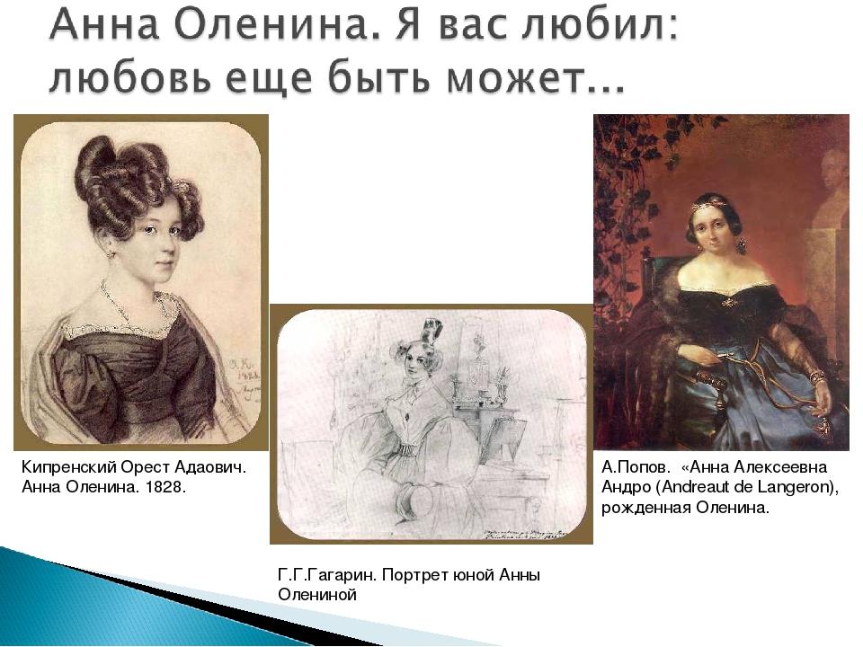 Кипренский Орест Адаович. Анна Оленина. 1828. Г.Г.Гагарин. Портрет юной Анны...