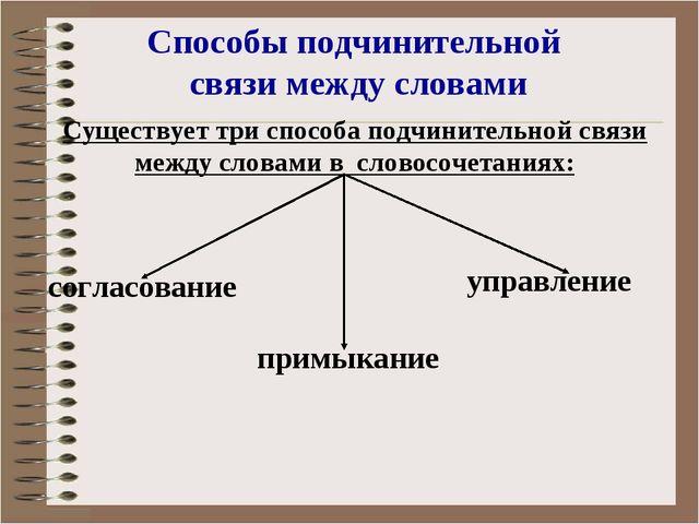 Существует три способа подчинительной связи между словами в словосочетаниях:...