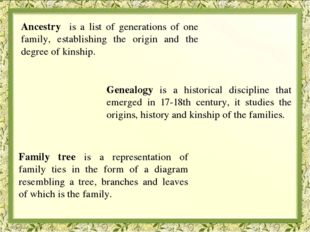 Ancestry is a list of generations of one family, establishing the origin and
