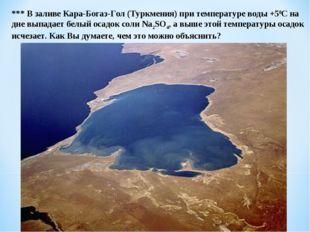 *** В заливе Кара-Богаз-Гол (Туркмения) при температуре воды +50С на дне выпа