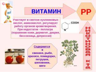 ВИТАМИН PP Участвует в синтезе нуклеиновых кислот, аминокислот, регулирует ра