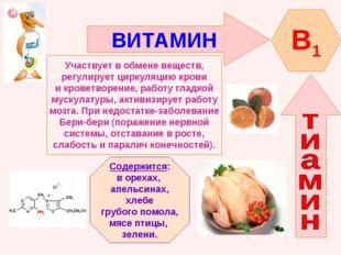 ВИТАМИН B1 Участвует в обмене веществ, регулирует циркуляцию крови и кроветво