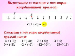 Выполните сложение с помощью координатной прямой: Е F -1 + (-3) = … -4 Сложит