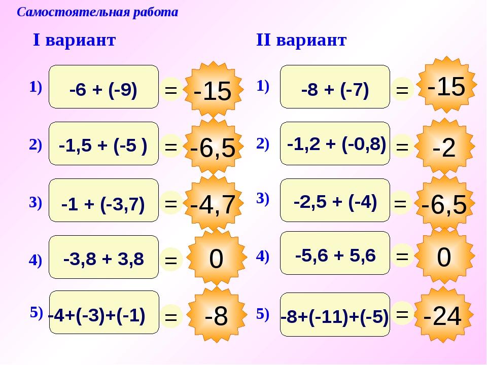 0 Самостоятельная работа I вариант II вариант -15 -6,5 -4,7 -8 -24 -2 -6,5 0...