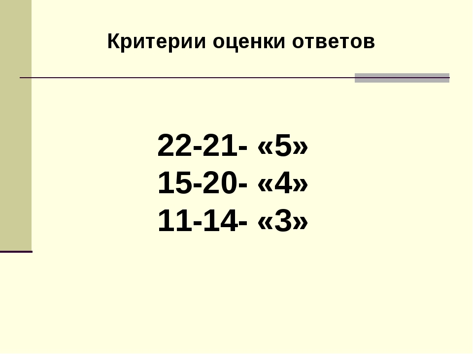 22-21- «5» 15-20- «4» 11-14- «3» Критерии оценки ответов