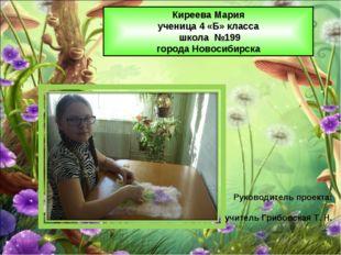 Киреева Мария ученица 4 «Б» класса школа №199 города Новосибирска Руководител