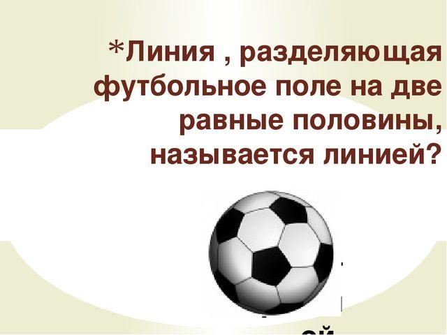 Центральной Линия , разделяющая футбольное поле на две равные половины, назыв...