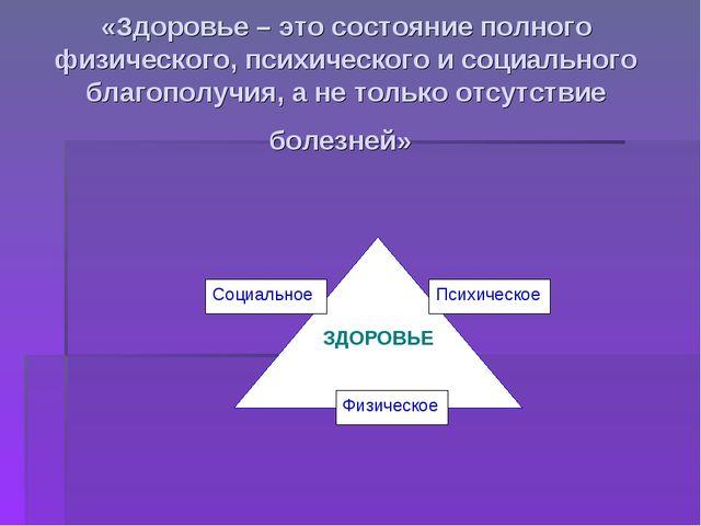 «Здоровье – это состояние полного физического, психического и социального бла...