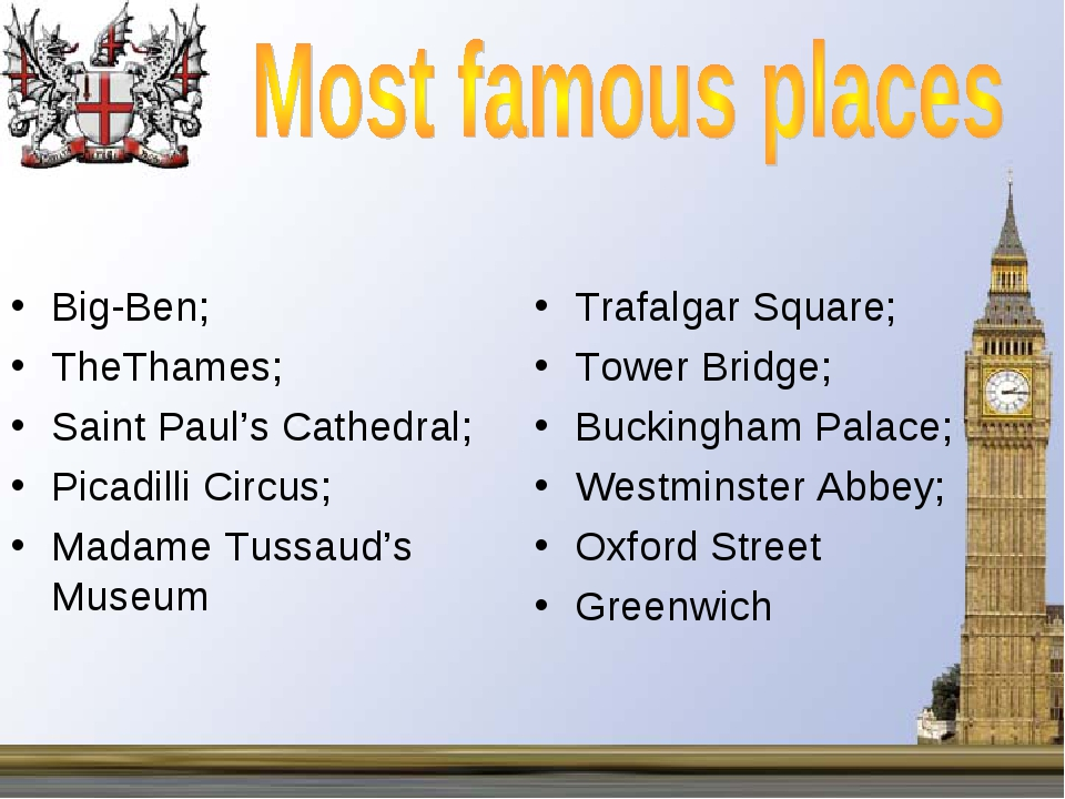 Big-Ben; TheThames; Saint Paul's Cathedral; Picadilli Circus; Madame Tussaud'...