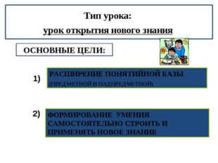 ОСНОВНЫЕ ЦЕЛИ: РАСШИРЕНИЕ ПОНЯТИЙНОЙ БАЗЫ (ПРЕДМЕТНОЙ И НАДПРЕДМЕТНОЙ) ФОРМИР