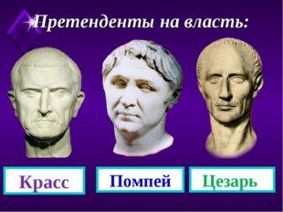 Претенденты на власть: Помпей Красс Цезарь
