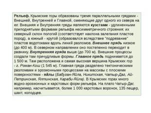 Рельеф.Крымские горы образованы тремя параллельными грядами - Внешней, Внутр