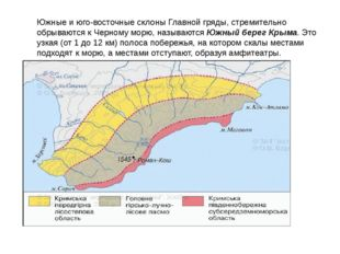 Южные и юго-восточные склоны Главной гряды, стремительно обрываются к Черному
