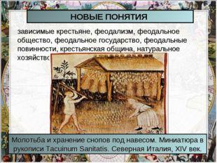 НОВЫЕ ПОНЯТИЯ зависимые крестьяне, феодализм, феодальное общество, феодальное