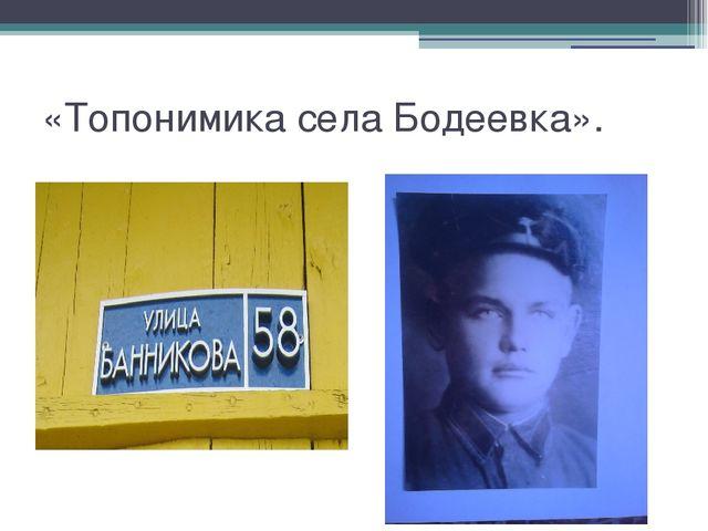 «Топонимика села Бодеевка».