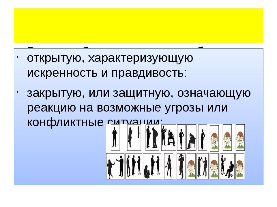 В ходе общения можно наблюдать наиболее «читаемые» позы: открытую, характери...
