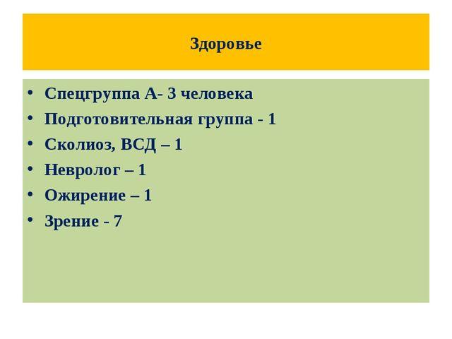 Здоровье Спецгруппа А- 3 человека Подготовительная группа - 1 Сколиоз, ВСД –...