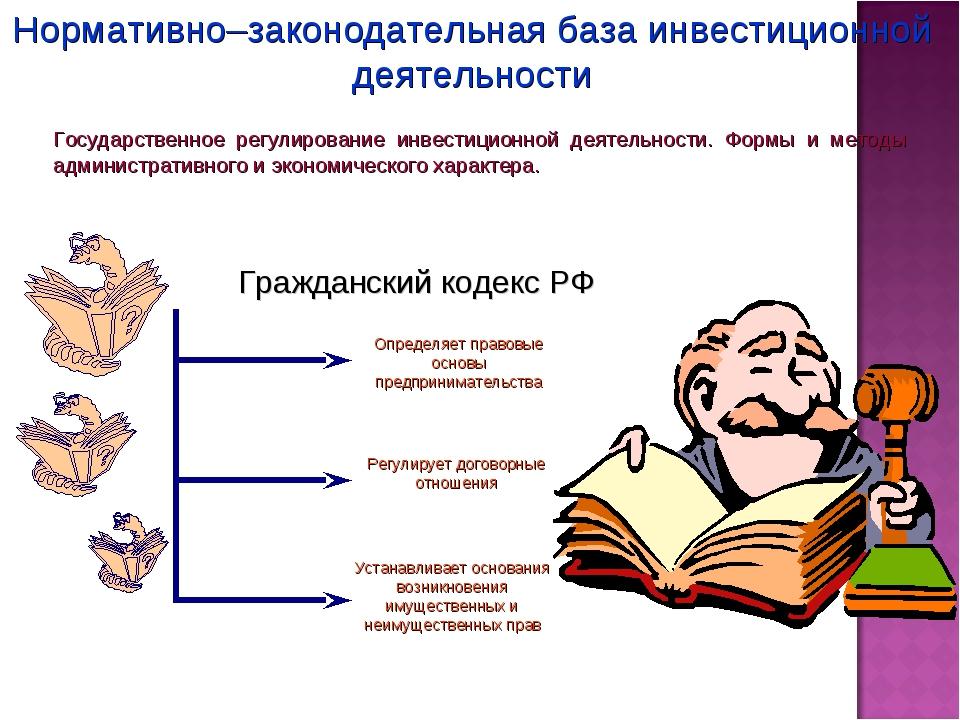 Нормативно–законодательная база инвестиционной деятельности Государственное р...