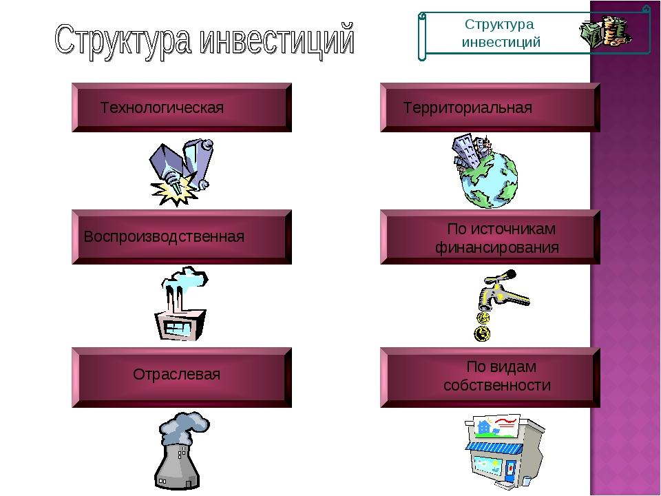 Технологическая Воспроизводственная Отраслевая По источникам финансирования П...