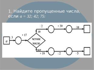 1. Найдите пропущенные числа, если а = 32; 42; 75: