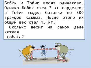 Бобик и Тобик весят одинаково. Однако Бобик съел 2 кг сарделек, а Тобик надел