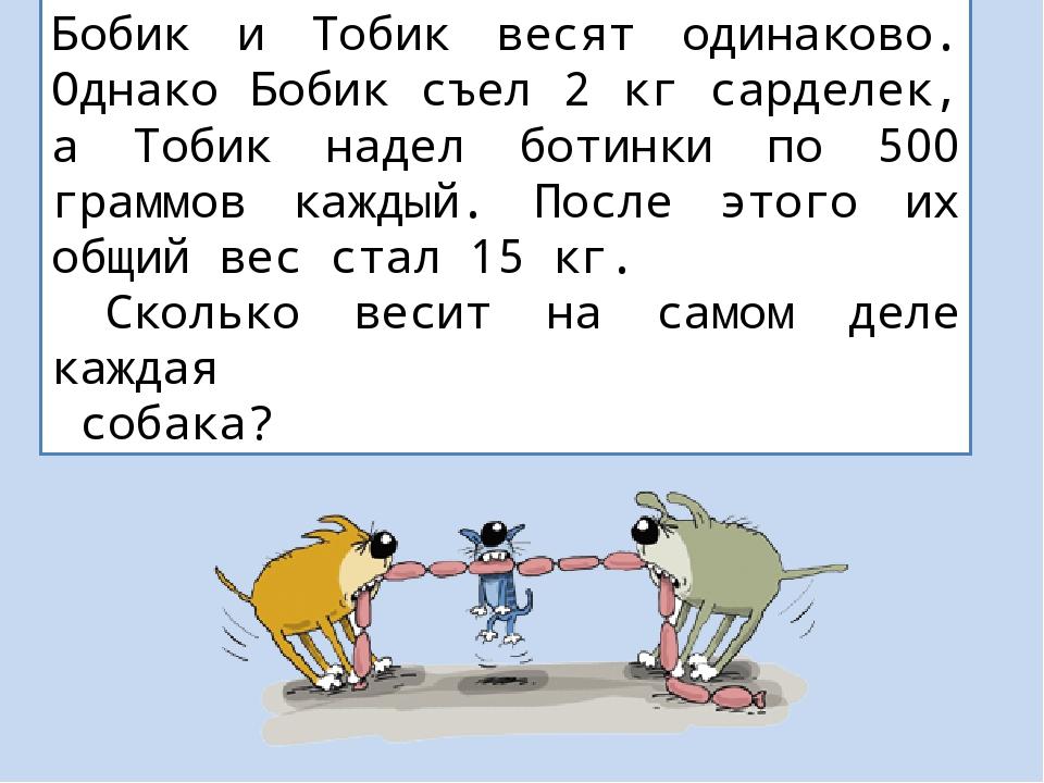 Бобик и Тобик весят одинаково. Однако Бобик съел 2 кг сарделек, а Тобик надел...