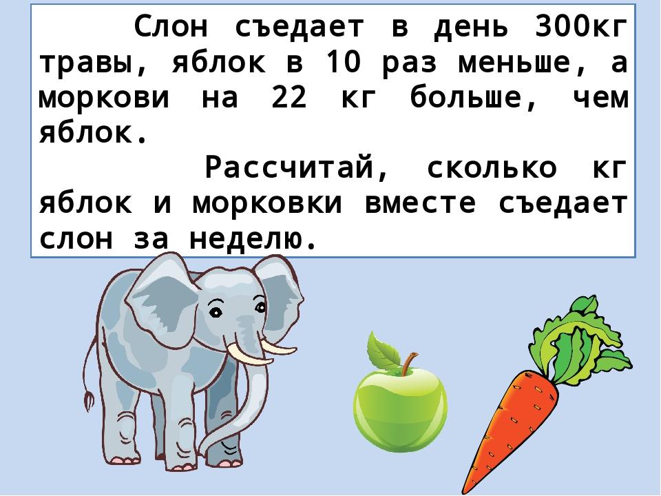 Слон съедает в день 300кг травы, яблок в 10 раз меньше, а моркови на 22 кг б...