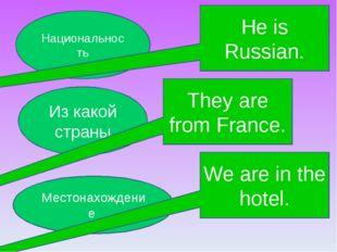 Из какой страны Местонахождение Национальность They are from France. He is Ru