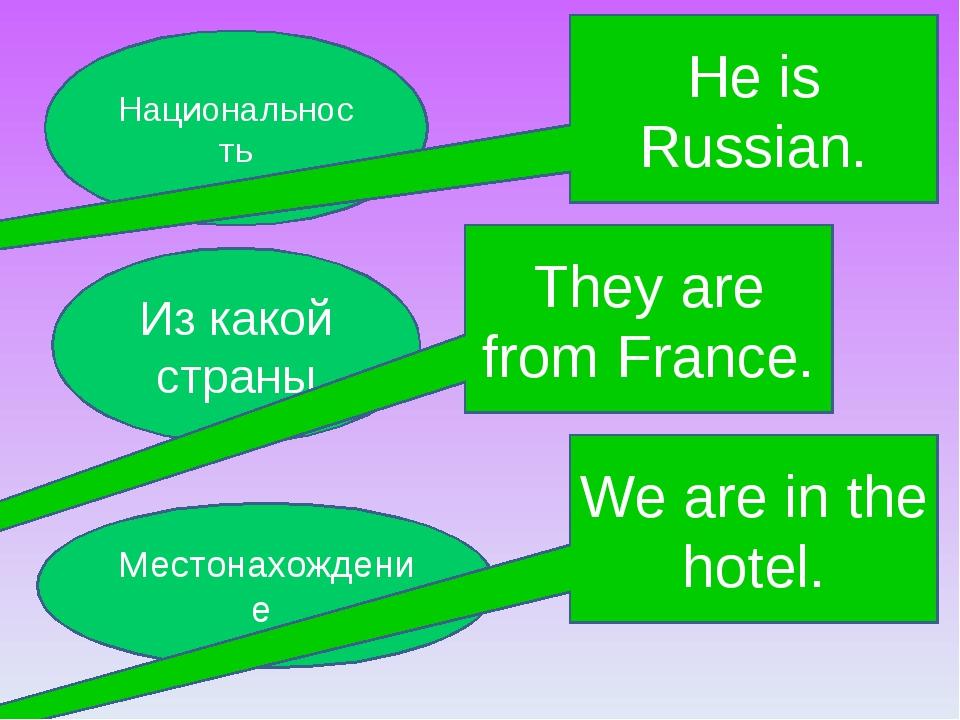 Из какой страны Местонахождение Национальность They are from France. He is Ru...